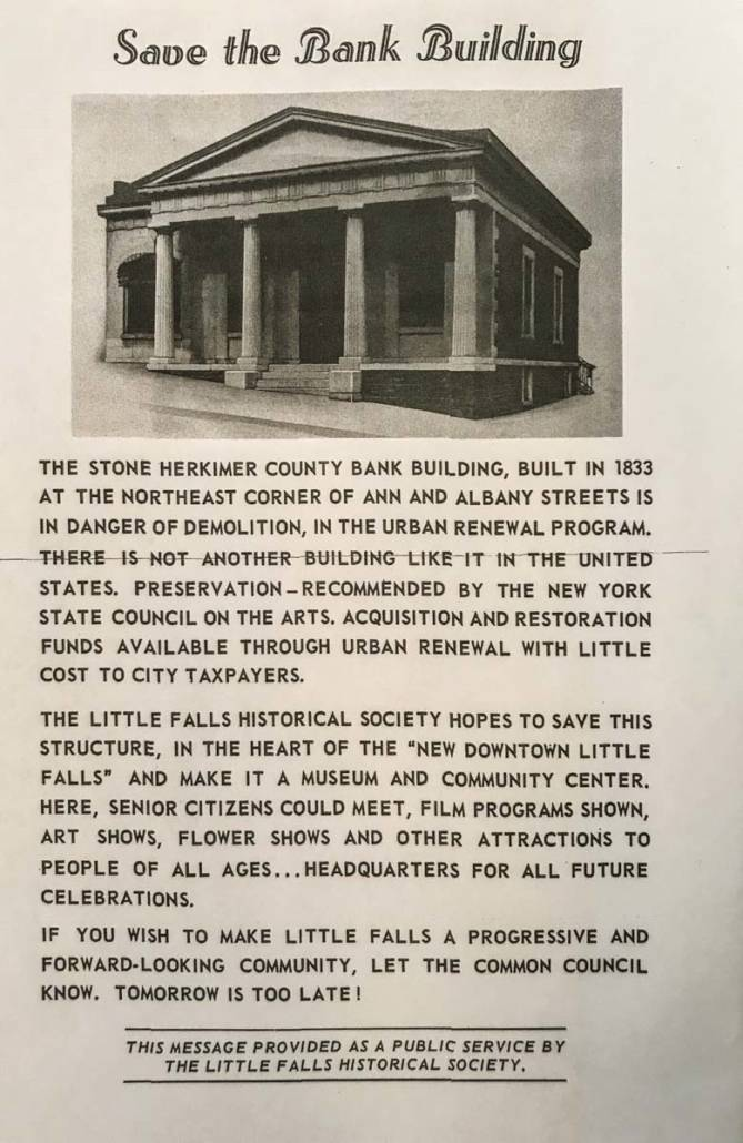 Save the Bank Building | Little Falls Historical Society Museum | Little Falls NY