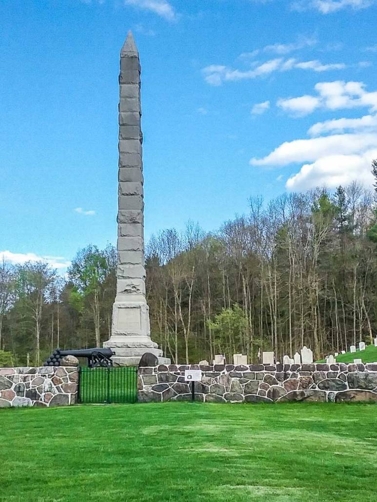General Nicholas Herkimer historic site cemetery with obelisk on left.