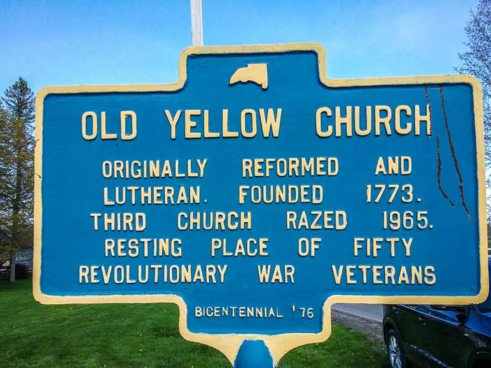 New York State historic marker nearby Yellow Church Cemetery.
