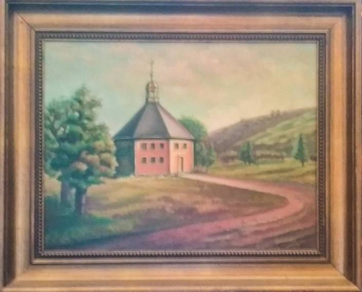 Octagon Church oil painting by Gwen Lee   Little Falls Historical Society Museum_-3