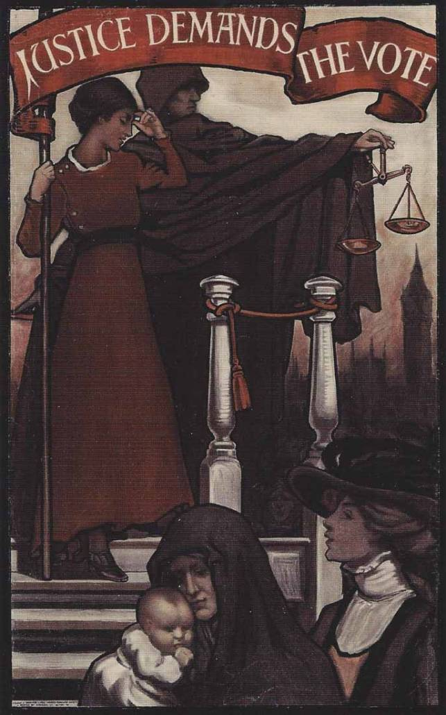 Justice Demands the Vote 1909 poster, Library of Congress | Little Falls Historical Society Museum