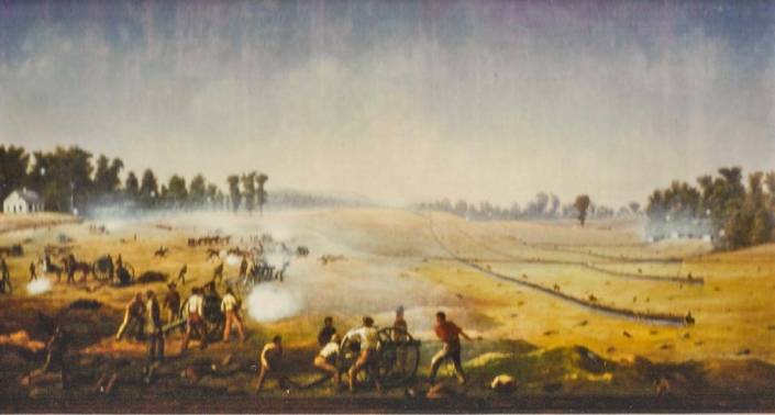 Painting of the 34th N.Y. and its division crossing the field towards the Dunker Church at Antietam.